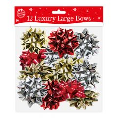 Pack of 12 Large Luxury Foil Christmas Bows