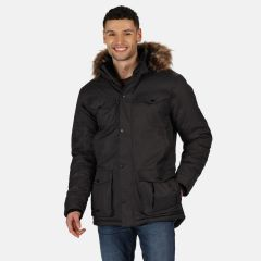 Regatta Men's Adair Waterproof Insulated Fur Trimmed Hooded Parka Jacket Ash