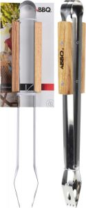 Stainless Steel Barbecue Tongs with Wooden Handles