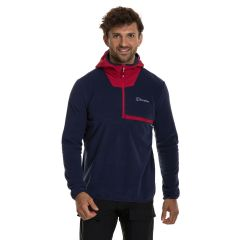 Berghaus Aslam Mens Hooded Half-Zip Fleece - Dusk/Red