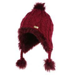 Regatta Kids' Cassiana Fur Lined Chullo Hat - Beetroot