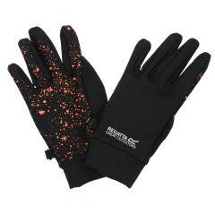 Regatta Kids' Grippy Gloves - Black Fiery Coral