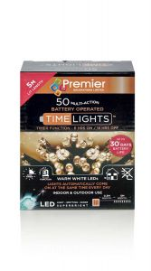 50 Battery Operated LED Warm White Christmas Lights - 5 Metre