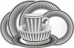 16 Piece Melamine Set - Stripe Design