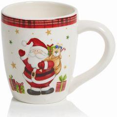 Premier Decorations 13cmx10cm Mug - Plaid Santa
