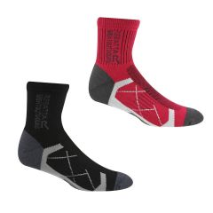 Regatta 2 Pair Active Socks Black/Cherry Pink