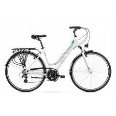 Romet Gazela 26 Step-Through Hybrid Bike White/Turquoise