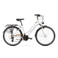 Romet Gazela 26 Step-Through Hybrid Bike White/Gold