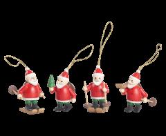 Tree Hanging Santas. 4 pack - 5cm