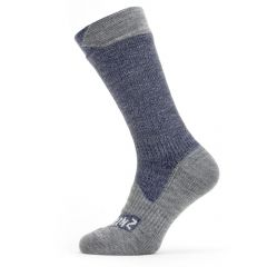 Sealskinz Mid-Length Waterproof Socks - Navy & Grey Marl