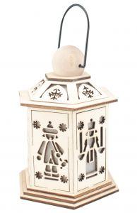 14cm LED Wooden Christmas Lantern - Angel & Miner