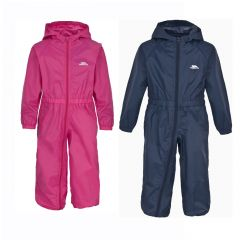 Trespass Button Babies Rain Suit - Gerbera / Navy