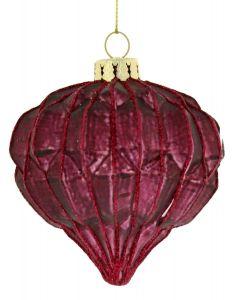 Festive Deep Red Geometric Glass Christmas Onion Bauble - 100mm