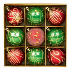 Set of 9 Christmas Decorations - Red and Green
