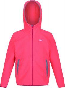 Regatta Girls' Thirl Full Zip Hooded Fleece With Reflective Trim - Neon Pink