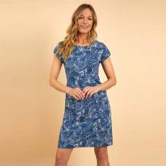 Weird Fish Tallahassee Organic Cotton Printed Jersey Dress - Ensign Blue