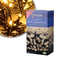 Premier Decorations 200 Supabright Warm White LED Lights