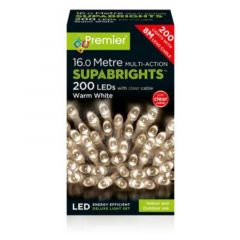 200 LEDs Multi-Action Supabrights Christmas Lights 16 Metres - Warm White