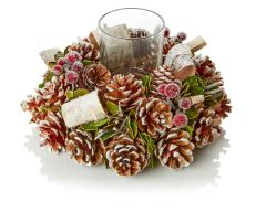 25cm Natural Cone Wreath Glass Candle Holder