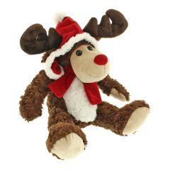 Festive Plush Sitting Reindeer 28cm