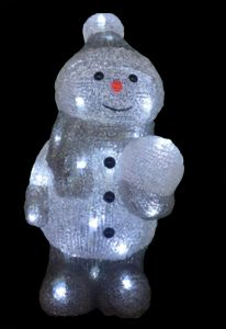 Snowtime Acrylic Snowman With 40 Ice White LED Lights